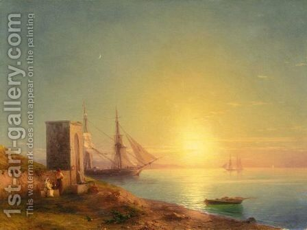 Sunset Over The Italian Coast by (after) Ivan Konstantinovich Aivazovsky - Reproduction Oil Painting