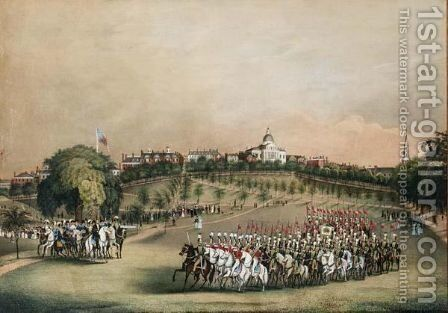 The National Lancers With The Reviewing Officers On Boston Common by C. Hubbard - Reproduction Oil Painting