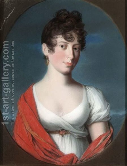 A Portrait Of An Elegant Lady by (after) David, Jacques Louis - Reproduction Oil Painting