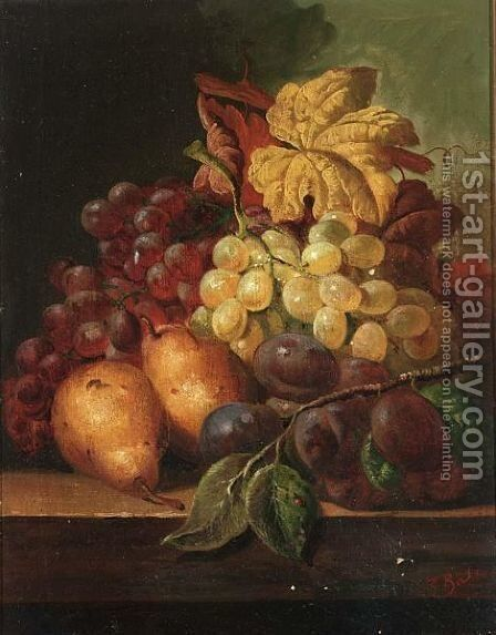 A Still Life With Grapes, Prunes And Pears by C.T. Bale - Reproduction Oil Painting