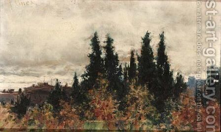 View Of A Landscape by Italian School - Reproduction Oil Painting
