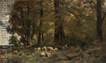 A Shepherdess With Her Flock In A Wooded Landscape by Charles Émile Jacque - Reproduction Oil Painting