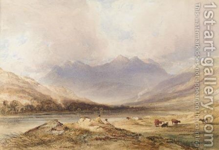 Snowdon With Figures And Cattle In The Foreground by Anthony Vandyke Copley Fielding - Reproduction Oil Painting