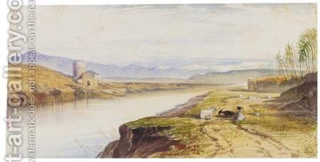 View On The Tiber, Near Rome by Edward Lear - Reproduction Oil Painting