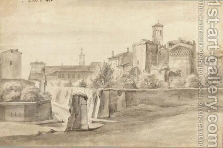 View Of Rome, With The Arch Of Titus, Via Sacra, Capitol And Santa Francesca Romana by (after) Jacob De Heusch - Reproduction Oil Painting