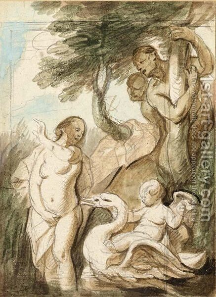 A Bathing Nymph Surprised By Satyrs, A Putto Riding A Swan Beside Her by Jacob Jordaens - Reproduction Oil Painting