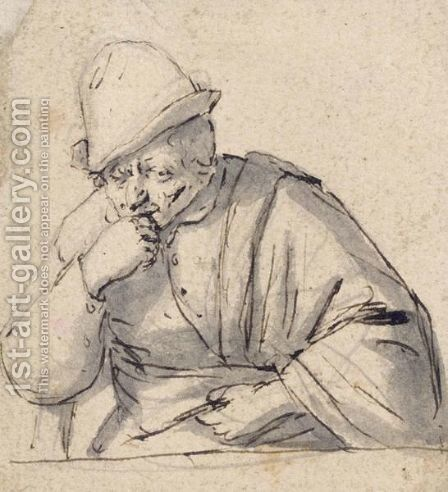Half-Length Study Of A Man, Possibly A Self-Portrait by Adriaen Jansz. Van Ostade - Reproduction Oil Painting