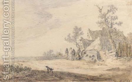 A Rural Landscape With A Farm, Haystack And Peasants by Jan van Goyen - Reproduction Oil Painting