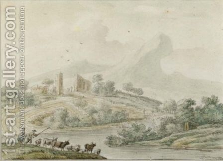 A Hilly River Landscape With Herdsmen And Their Cattle by Jan van der the Younger Meer - Reproduction Oil Painting