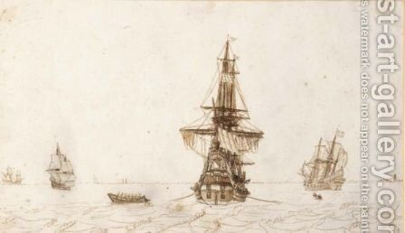 A Ship Seen From The Stern, With Other Ships And A Rowing Boat Nearby by Dutch School - Reproduction Oil Painting