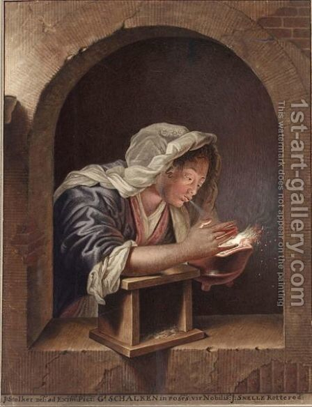 A Woman In A Niche Blowing On Coals In An Earthware Pot by Jan Stolker - Reproduction Oil Painting