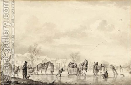 Winter Landscape With Skaters And Horse-Drawn Sledges On The Ice, A Village Beyond by Andries Vermeulen - Reproduction Oil Painting