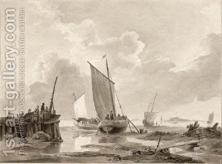 Fishing Boats Beached Near A Pier by (after) Johannes Christian Schotel - Reproduction Oil Painting