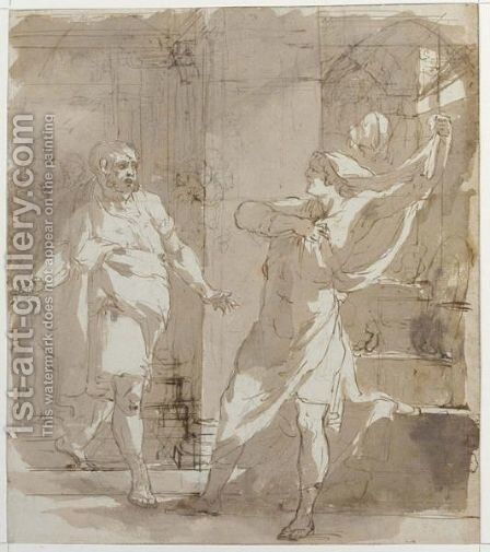 Classical Interior Scene With A Man Disclaming, Approched By Another by (after) Gerard De Lairesse - Reproduction Oil Painting