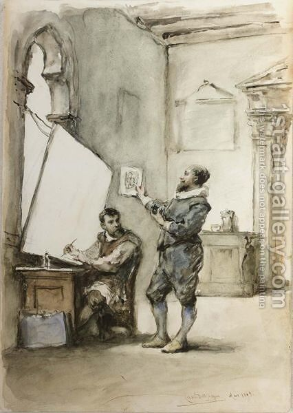 The Sadeler Brothers In Their Print-Making Studio by Cesare Felix dell' Acqua - Reproduction Oil Painting