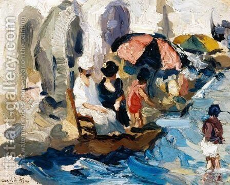 Ladies On The Beach by Cecilio Pla - Reproduction Oil Painting
