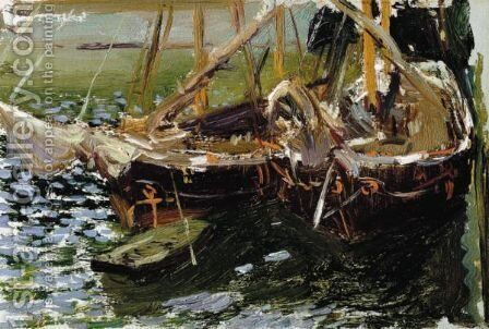 Boats In Port by Joaquin Sorolla y Bastida - Reproduction Oil Painting