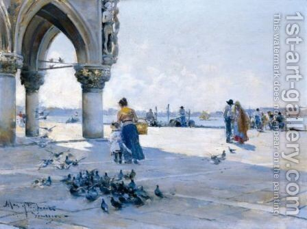 Feeding The Pigeons, Venice by Arcadio Mas Y Fondevila - Reproduction Oil Painting