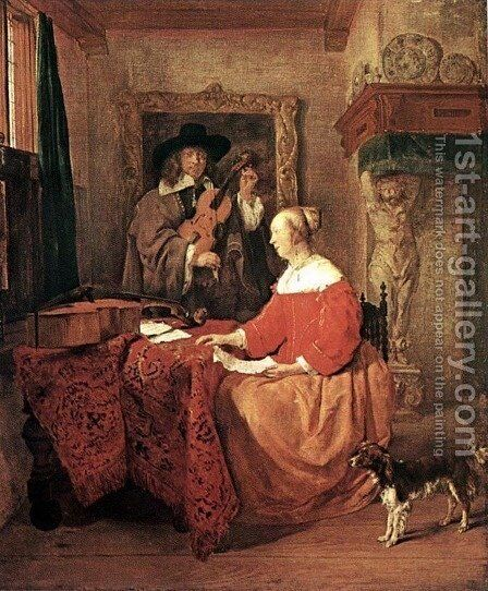 A Woman Seated at a Table and a Man Tuning a Violin by Gabriel Metsu - Reproduction Oil Painting