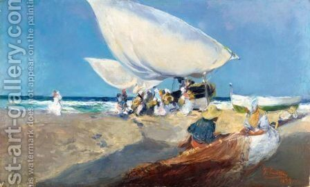 Mending The Nets by Joaquin Sorolla y Bastida - Reproduction Oil Painting