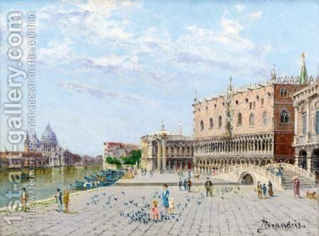 View Of The Palazzo Ducale With The Santa Maria Della Salute by Antonietta Brandeis - Reproduction Oil Painting