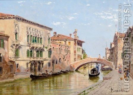 A Venetian Canal by Antonietta Brandeis - Reproduction Oil Painting