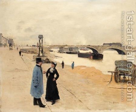Le Pont De Bercy by Jean-Georges Beraud - Reproduction Oil Painting