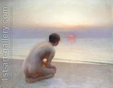 Morgenhilsen And Ved Solnedgang (Morning Greetings) by Hans Brasen - Reproduction Oil Painting