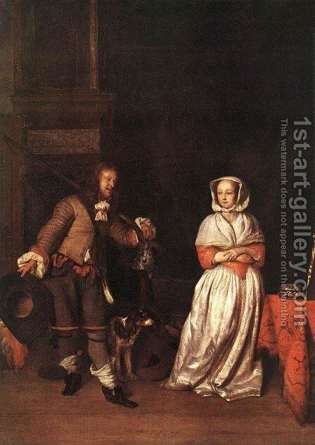 The Hunter and a Woman by Gabriel Metsu - Reproduction Oil Painting