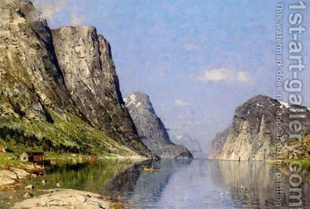 A Norwegian Fjord 5 by Adelsteen Normann - Reproduction Oil Painting
