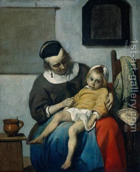 The Sick Child c. 1660 by Gabriel Metsu - Reproduction Oil Painting