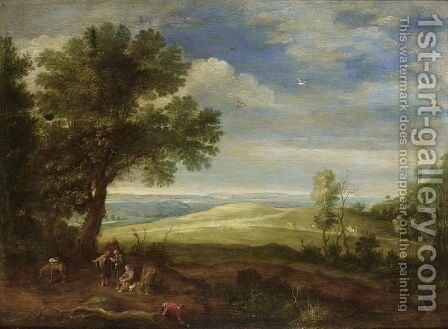 An Extensive Wooded Landscape With Monks Resting With A Donkey Near Trees In The Foreground by (after) Paul Bril - Reproduction Oil Painting