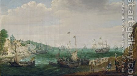 A Coastal Landscape With Fishing Boat by Adam Willaerts - Reproduction Oil Painting