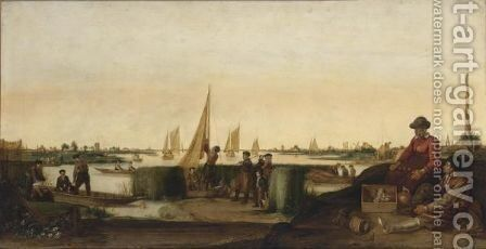 An Extensive River Landscape With Fishermen And Their Boats, A Couple With Their Ware In The Right Foreground by Arentsz van der Cabel - Reproduction Oil Painting