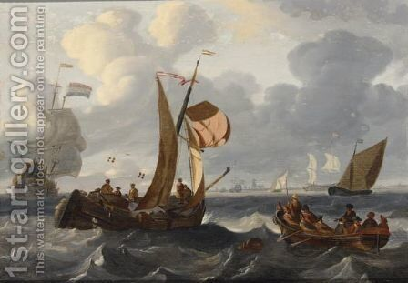A Wijdschip In A Breeze Together With A Rowing Boat With Figures In The Foreground by (after) Ludolf Backhuysen - Reproduction Oil Painting