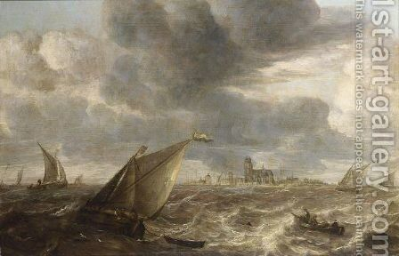 A River Landscape With Fishing Boats In A Strong Breeze Before A Town, Probably Dordrecht by Abraham Hendrickz Van Beyeren - Reproduction Oil Painting
