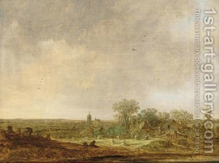 An Extensive Dune Landscape With Corn Stooks And A Mill And A Distant by Jan van Goyen - Reproduction Oil Painting