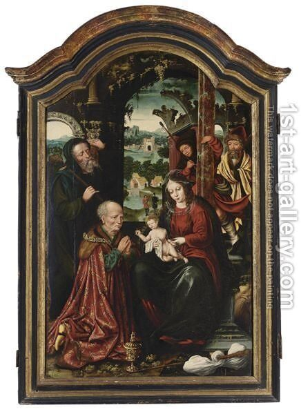 he Adoration Of The Shepherds And King Caspar by (after) Cleve, Joos van - Reproduction Oil Painting