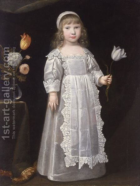 A Portrait Of A Young Girl, Standing Full-Length, Wearing A White Dress With An Apron Set With Lace And A White Bonnet, Holding A Tulip In Her Left Hand, A Vase With Flowers Beside Her On A Table by (after) Philippe De Champaigne - Reproduction Oil Painting