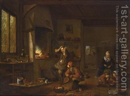 Al Ghemist An Alchemist's Study With Figures Near A Fireplace by Netherlandish School - Reproduction Oil Painting