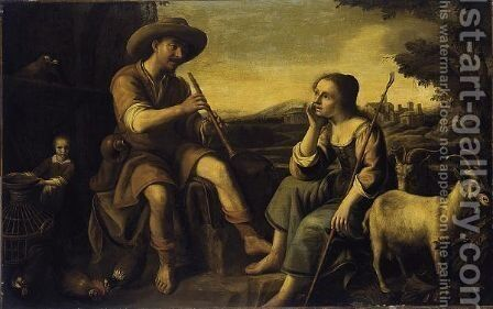 A Shepherd Playing A Flute With A Shepherdess Listening by Netherlandish School - Reproduction Oil Painting
