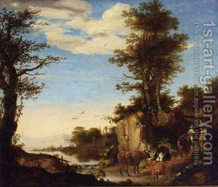 A River Landscape With A Shepherd With His Herd On A Path Conversing With A Woman by Arie de Vois - Reproduction Oil Painting