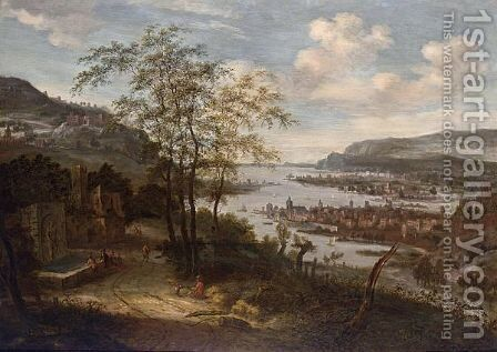 An Extensive River Landscape With Towns And Sailing Boats, Figures Near A Fountain On The Left And Mountains Beyond by Dionys Verburgh - Reproduction Oil Painting