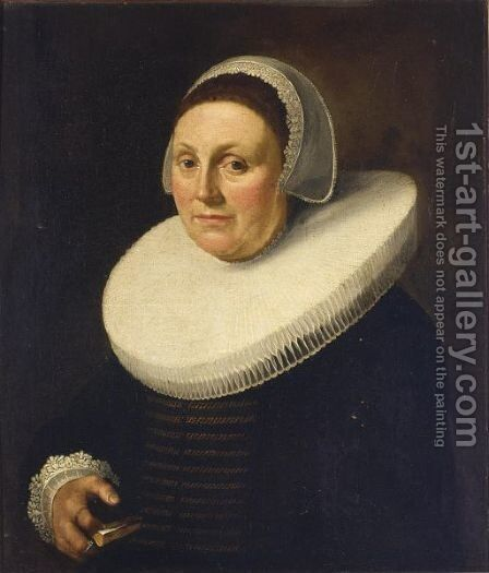 A Portrait Of A Lady, Bust Length, Wearing A Black Dress With A Mill Stone Collar And A White Lace Bonnet, Holding A Book In Her Hand by Delft School - Reproduction Oil Painting