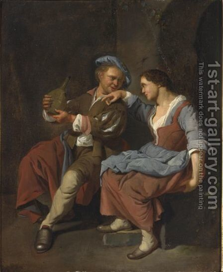 A Maid With A Young Man Asleep In A Tavern by Jacob Toorenvliet - Reproduction Oil Painting