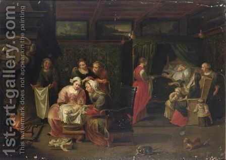 An Interior With Women Visiting A Mother Of A Newly-Born Child And Small Children Near A Fireplace by (after) Willem Van, The Elder Herp - Reproduction Oil Painting