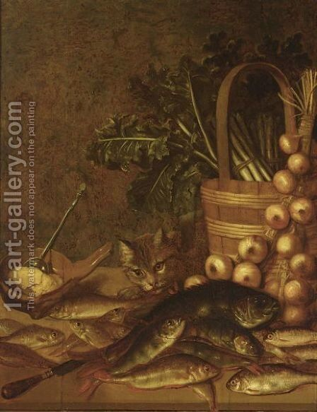 A Still Life With Fresh-Water Fish, A Basket With Asparagus, Onions, Lettuce, A Knife And A Bowl by (after) Pieter De Putter - Reproduction Oil Painting