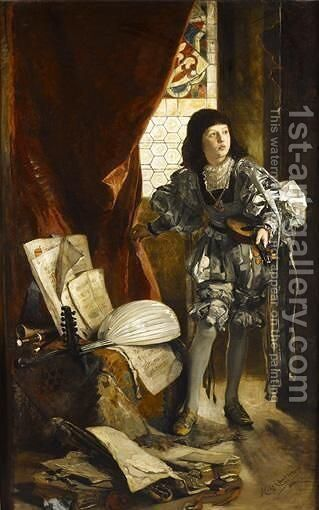 A Musician Page by Hugo Charlemont - Reproduction Oil Painting
