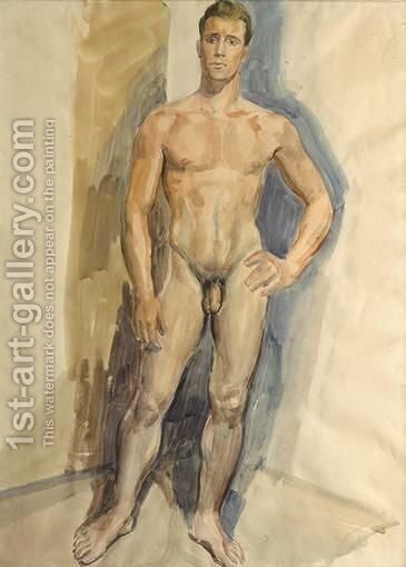 A Male Nude 2 by Ecole Francaise, Xixeme Siecle - Reproduction Oil Painting