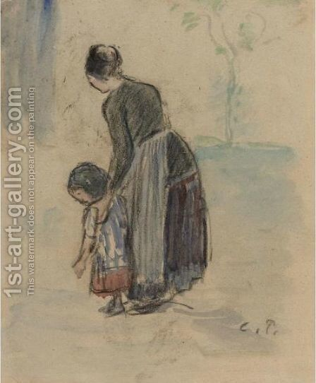 Paysanne Et Enfant by Camille Pissarro - Reproduction Oil Painting